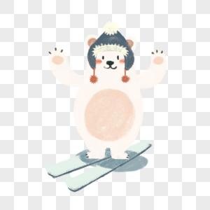滑雪的北极熊高清图片