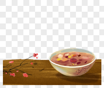 桌子上的一碗粥图片