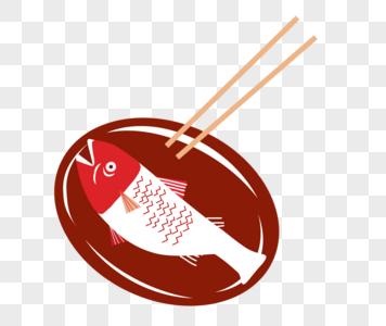 美食盘子里的鱼图片