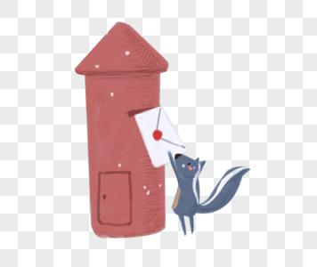 邮筒边寄信的小松鼠图片