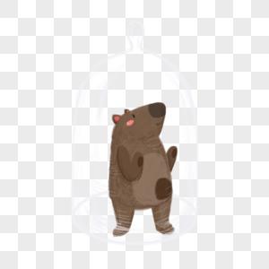 被玻璃罩住的熊图片
