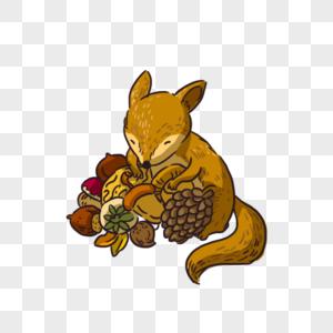 吃坚果的小松鼠图片