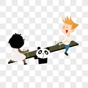 玩跷跷板的孩子图片