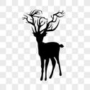剪影麋鹿图片