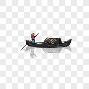 划船的渔翁图片