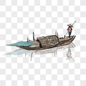 渔翁划船图片