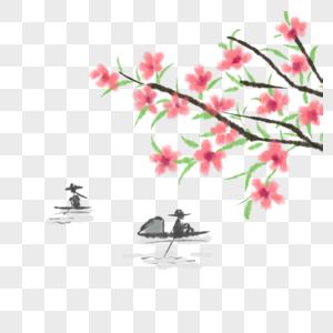 桃花划船图片