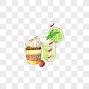 手绘饮料冰淇淋图片
