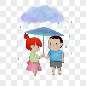 伞下躲雨的男孩女孩图片