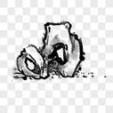 水墨画石头图片