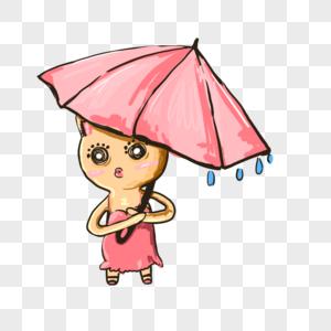 打伞的猫图片