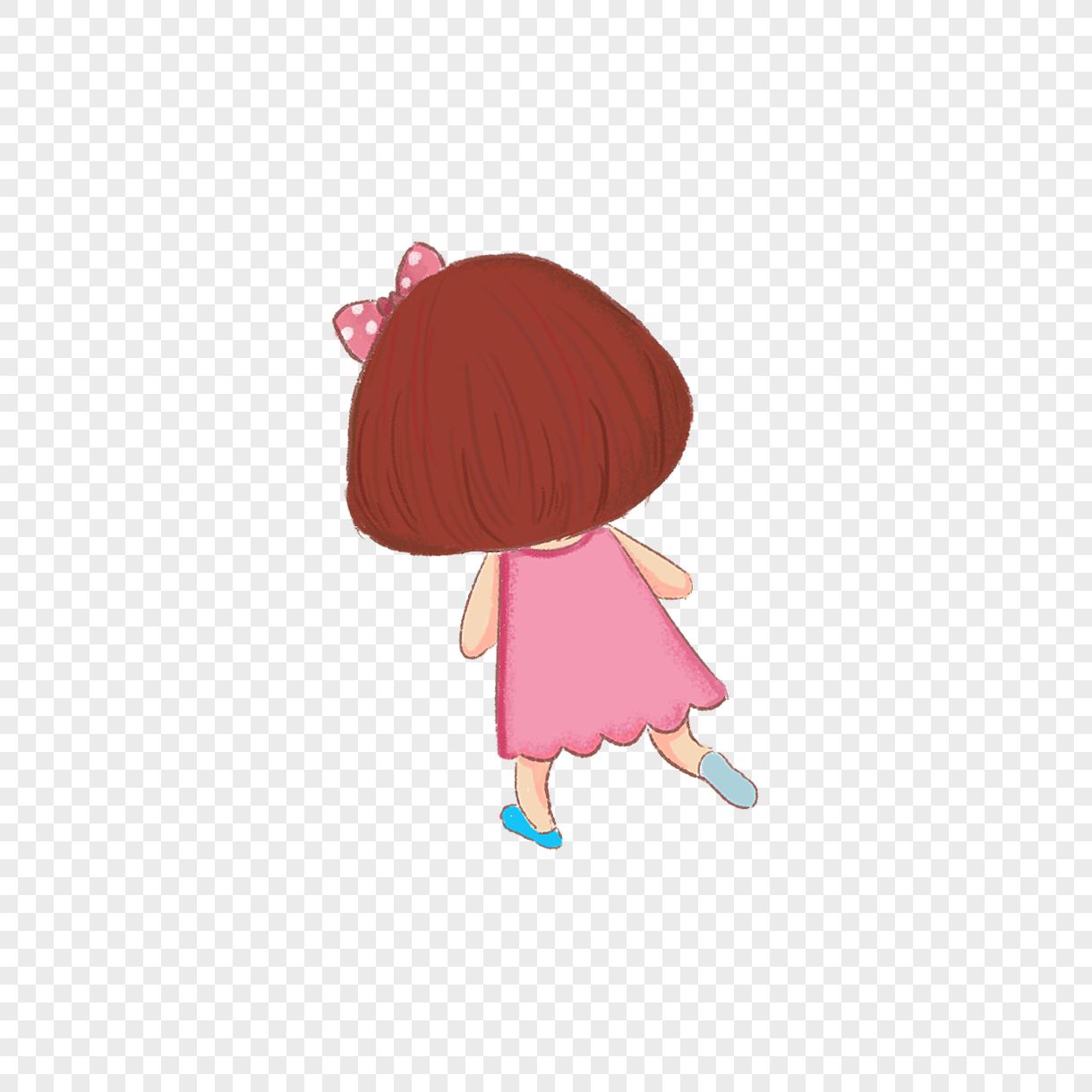 图片 素材 手绘/卡通元素 可爱女孩背影.