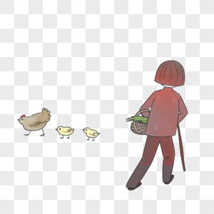 喂鸡的奶奶图片