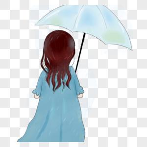 打着雨伞女孩的背影图片