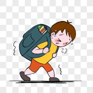 被书包压弯腰的小男孩图片