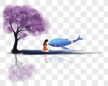 树下跟鲸鱼玩耍的女孩图片