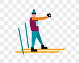 滑雪拍照的人图片