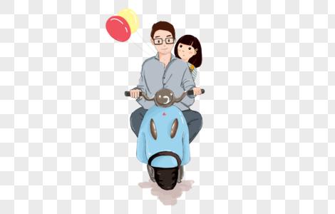 骑摩托车 人物元素图片