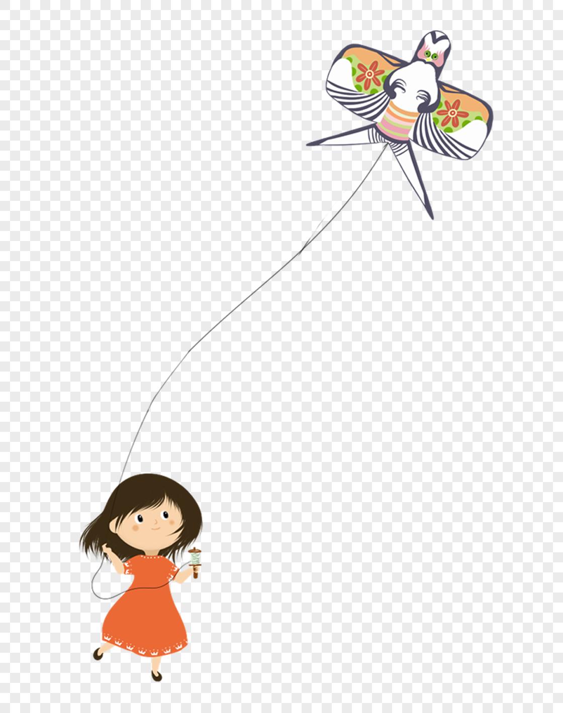 放风筝 简笔画 小女孩 小女孩在放风筝简笔画