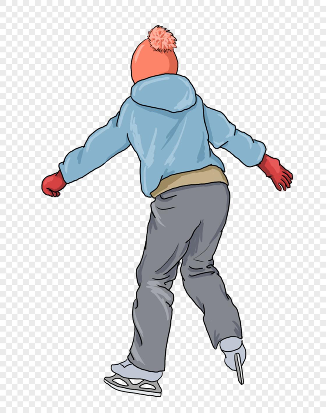 图片 素材 手绘/卡通元素 溜冰的男孩.