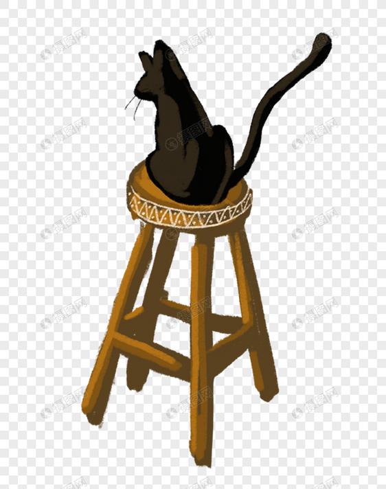 坐在椅子上的猫元素素材格式_设计素材免费下载_vrf