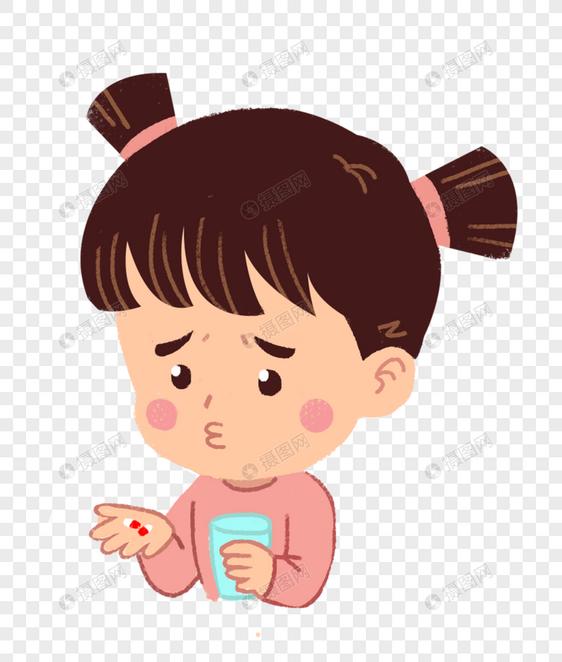 吃药的女孩图片