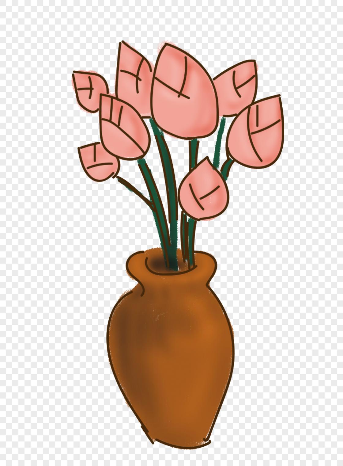 花瓶上的图案手绘漫画