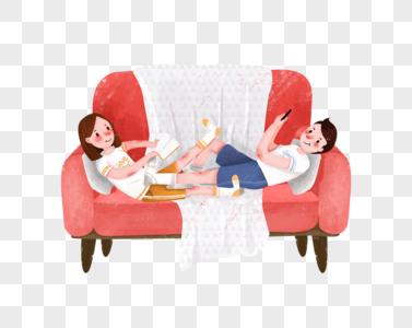 沙发上的情侣图片