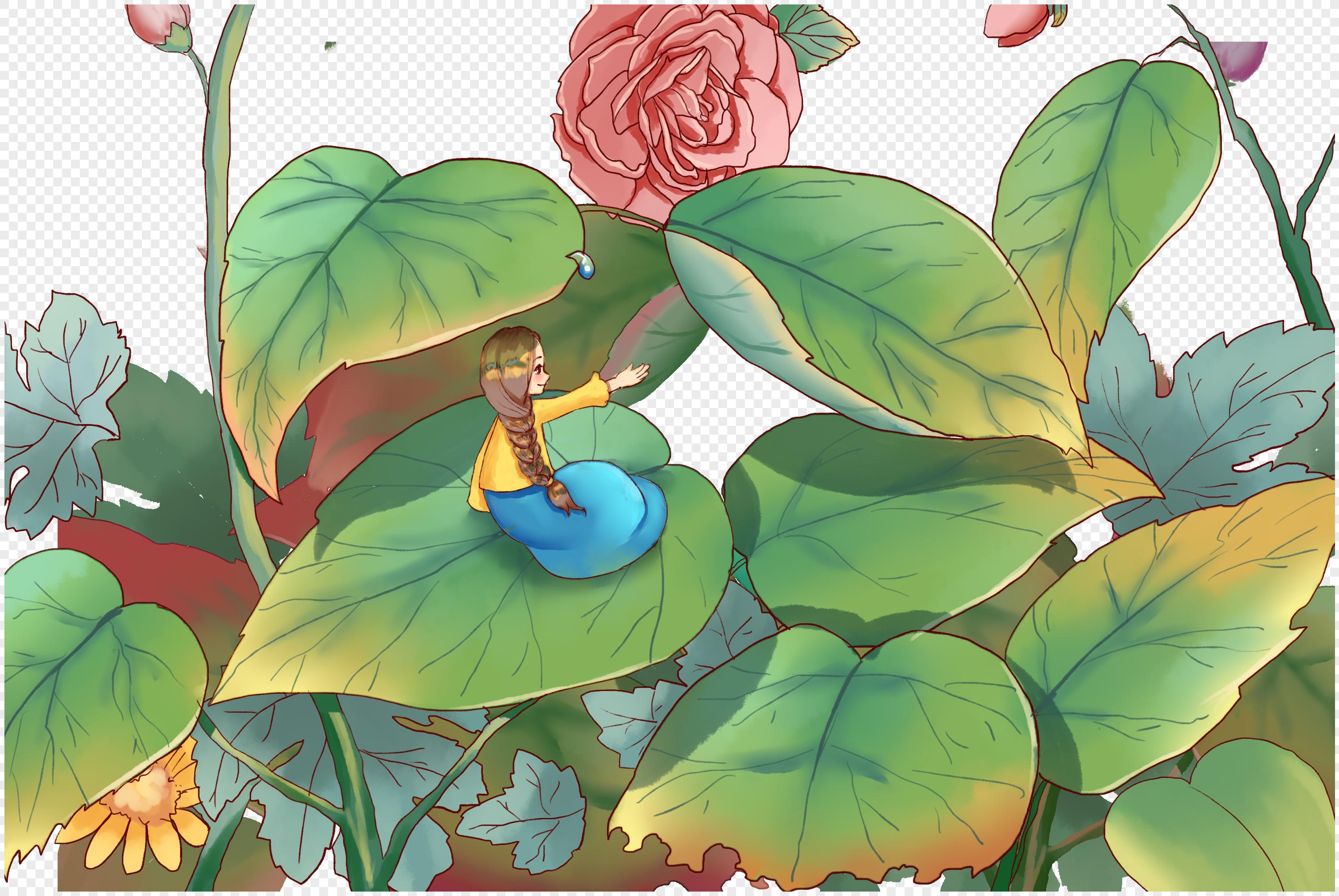 图片 素材 手绘/卡通元素 花丛中的女孩.