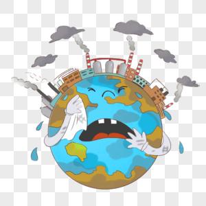 地球污染儿童简笔画