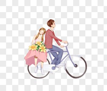 骑自行车的情侣图片