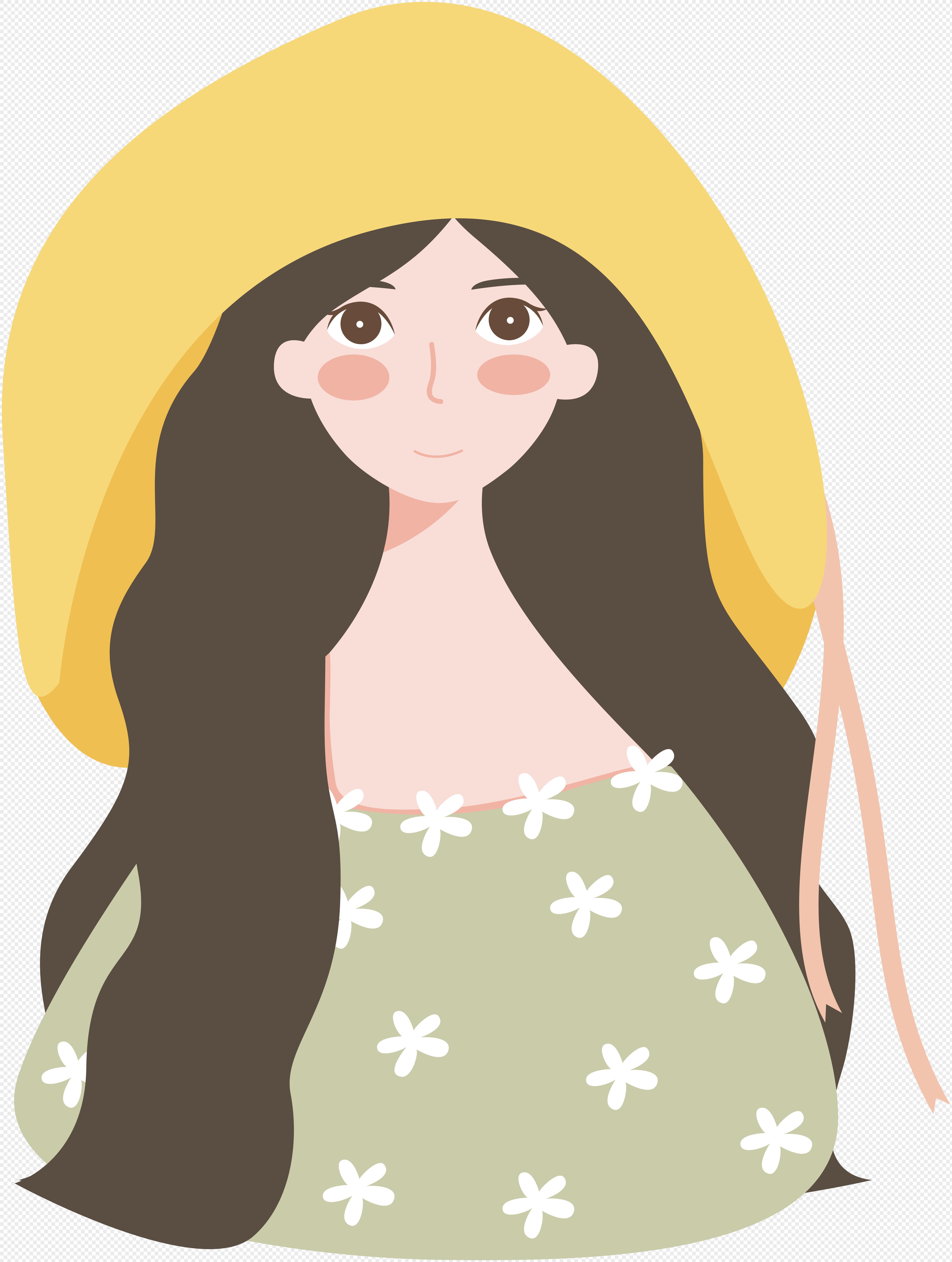 图片 素材 手绘/卡通元素 小清新女孩.