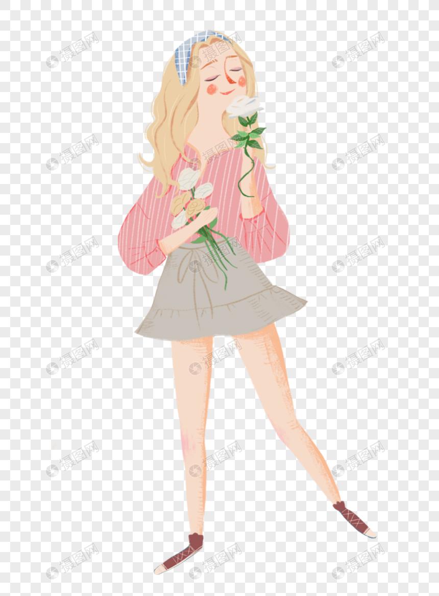 素材 手绘/卡通元素 捧花的女孩.