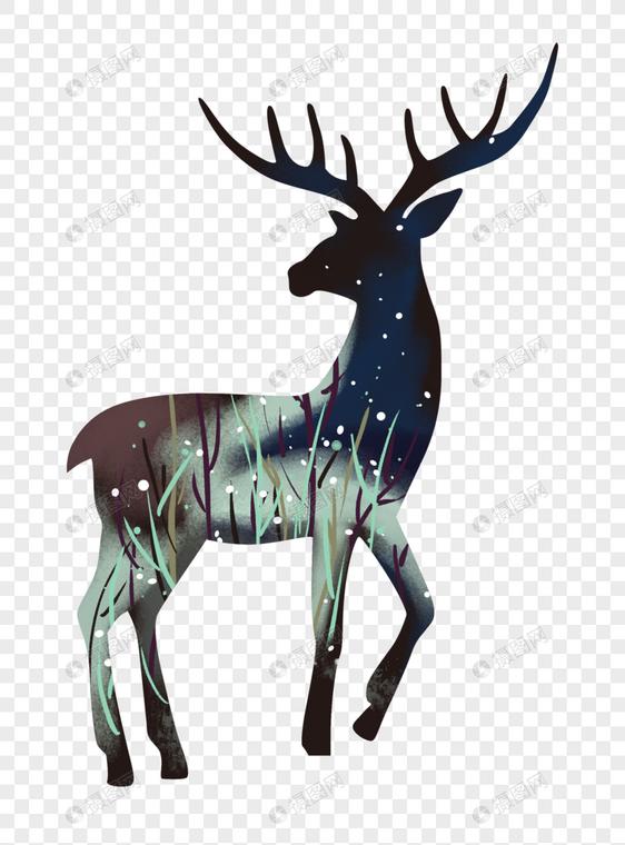 手绘星空欧式鹿