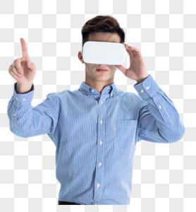 年轻男子带VR 眼镜体验虚拟现实图片