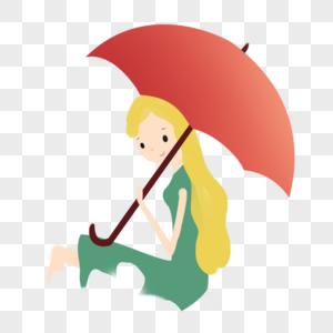 打雨伞女孩图片