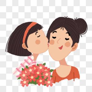 女孩亲吻母亲图片