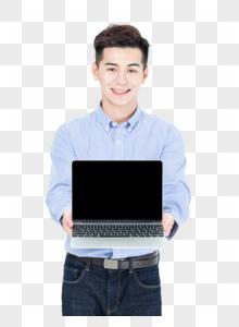 商务男士手拿笔记本电脑展示图片图片