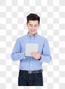 商务男士手拿平板电脑图片