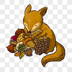 可爱松鼠与松子图片