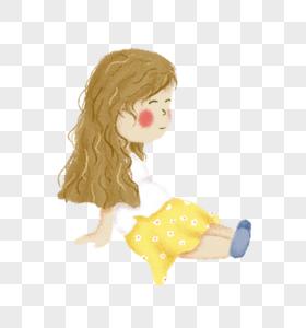 穿黄裙子坐着的小女孩图片