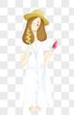 夏天吃冰棒的白裙子女孩png图片