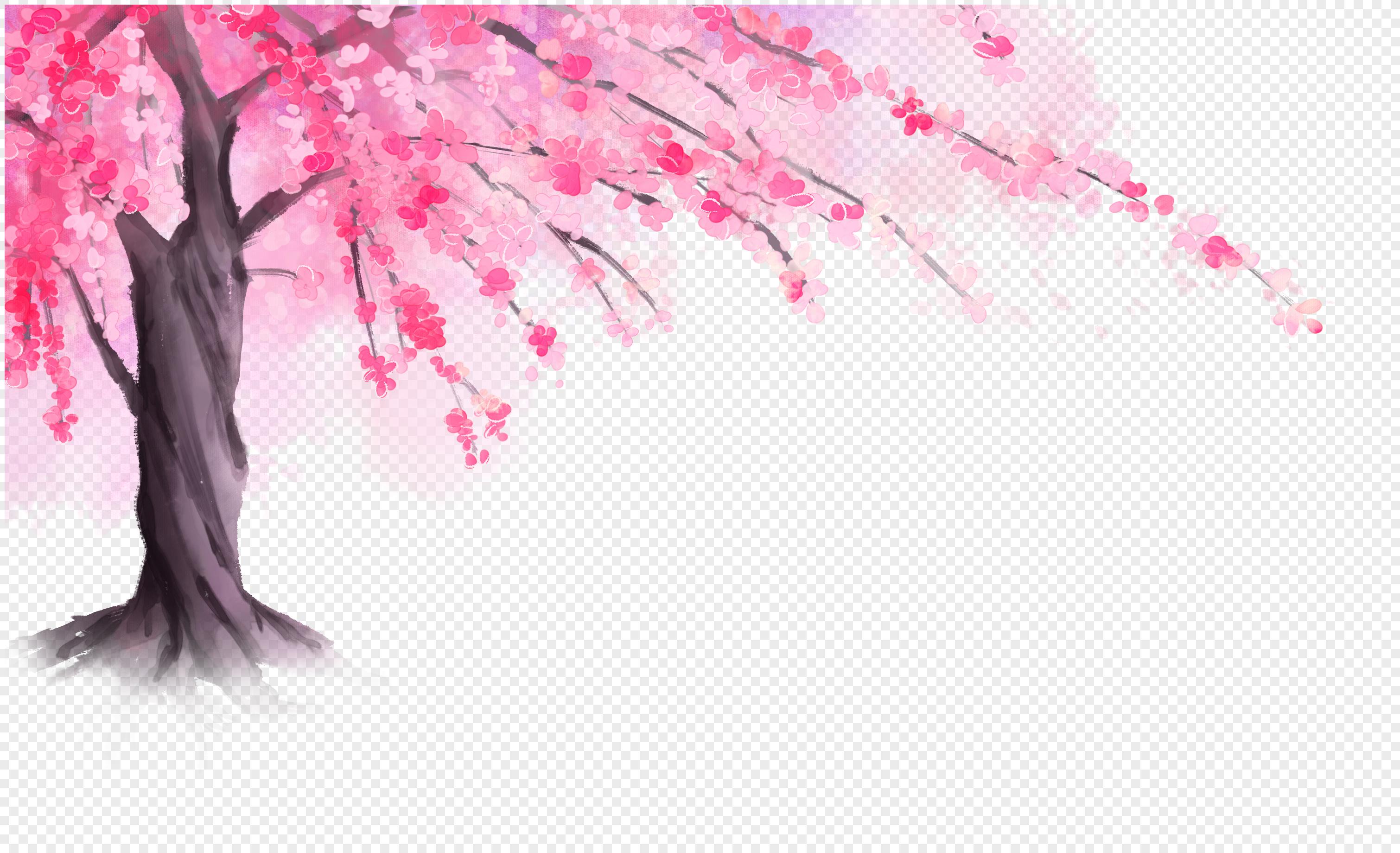 手绘樱花树