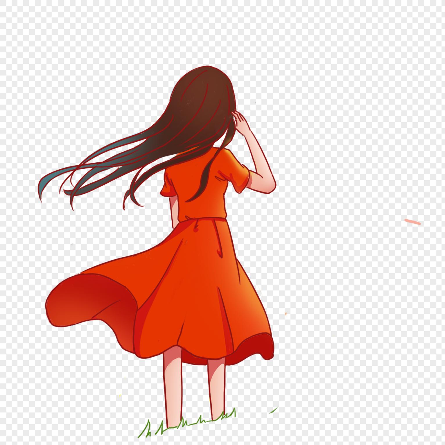 图片 素材 手绘/卡通元素 红裙女孩.