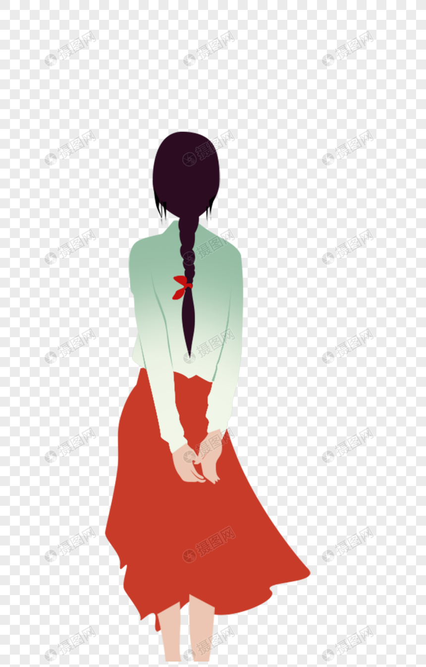 图片 素材 手绘/卡通元素 女孩的背影.