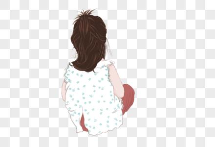 小女孩坐着的背影图片