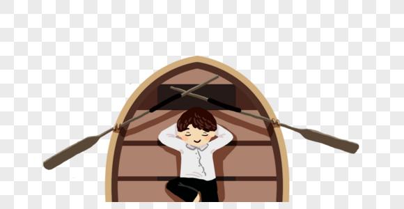 木船上的男孩图片