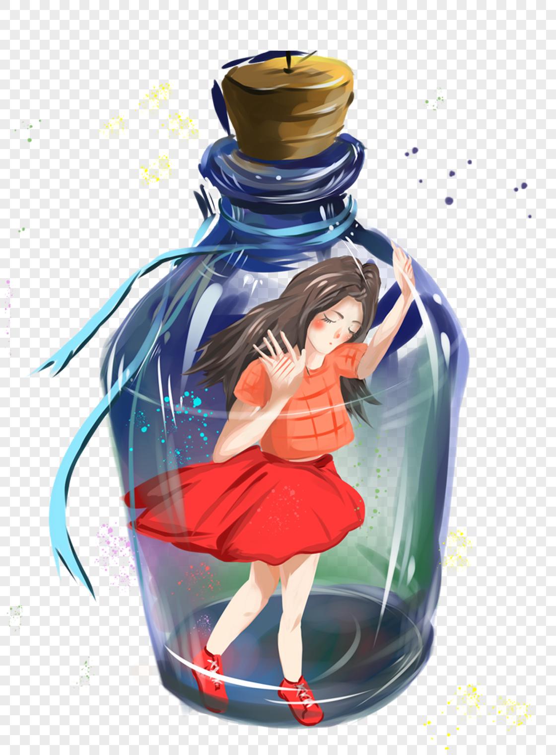图片 素材 手绘/卡通元素 玻璃瓶中的女孩.