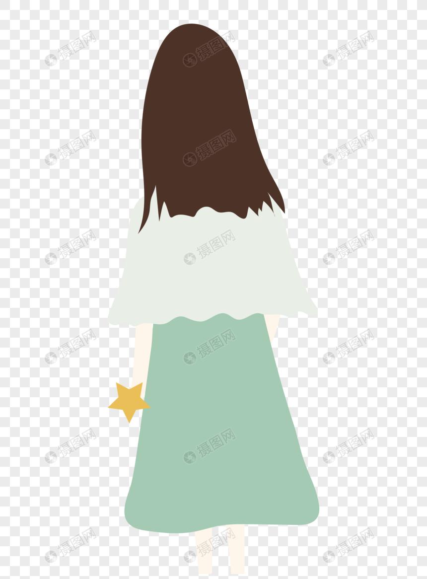 图片 素材 手绘/卡通元素 女孩背影.