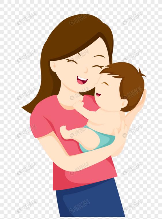 妈妈抱宝宝手绘